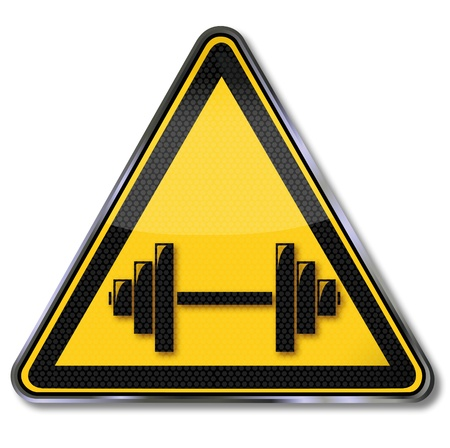 Sign weightlifting and dumbbell Vector