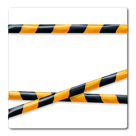Barrier tape orange and black and power cable Stock Vector - 18241050