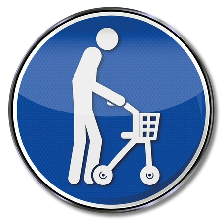 Sign old man with rollator Stock Vector - 18241033