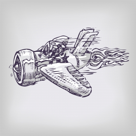 mixed media: Drawing punny little airplane