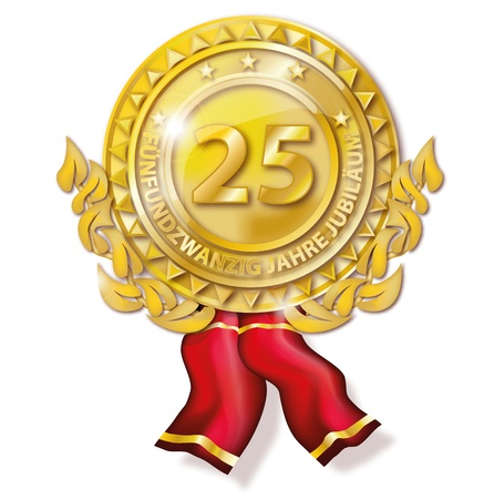 Medal twenty-five years anniversary Stock Photo - 18241032