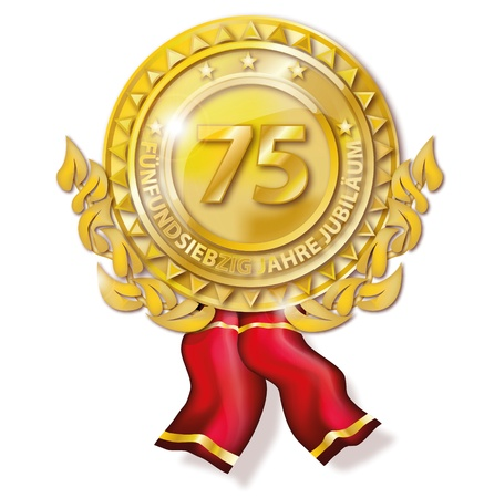 Medal seventy-five anniversary Stock Photo - 18241034