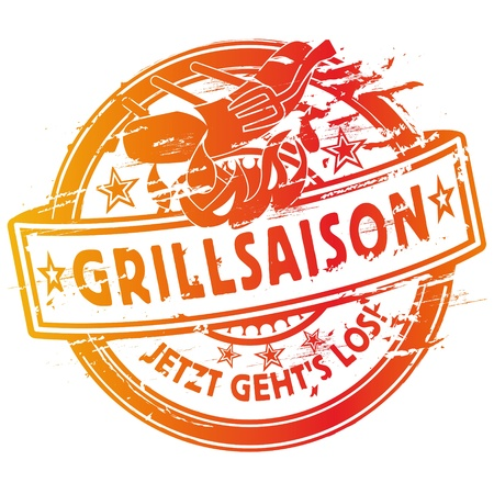 charcoal grill: Rubber stamp summer grilling and barbecue Illustration