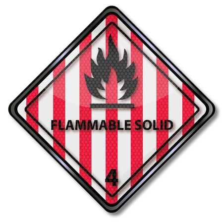 Danger sign flammable solid 4 Vector
