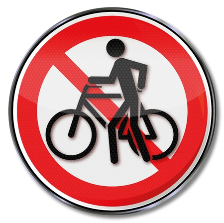 Prohibition sign for cycling and bike slide Vector