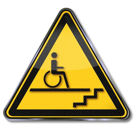 Sign wheelchair stairs and disability