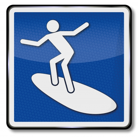 surfers: Sign surfers and surfing Illustration