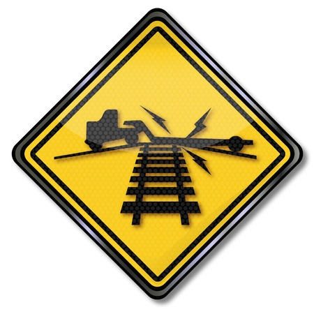 seemed: Warning sign surcharge on rail Illustration