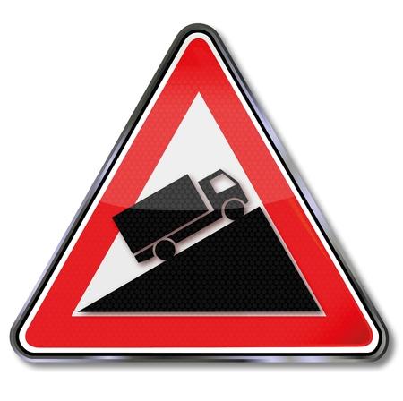 slowdown: Sign truck and slope Illustration