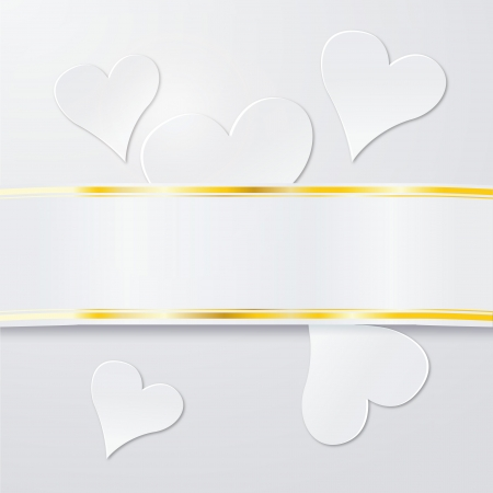 cordially: Banderole with white hearts