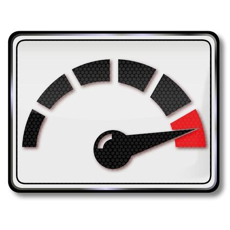 Sign consumption indicator and tachometer Illustration