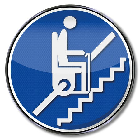 Sign pensioner on stairlift Vector