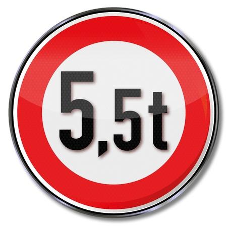 tonnes: Traffic sign 5 5 tonnes maximum weight