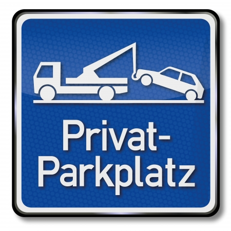 Blue private parking place sign Stock Vector - 18856066