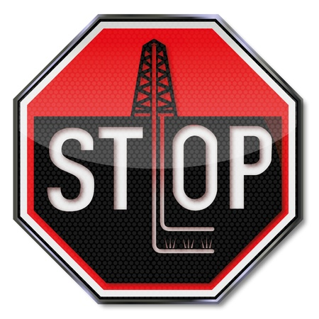 Stop sign no fraccing Stock Vector - 18857331