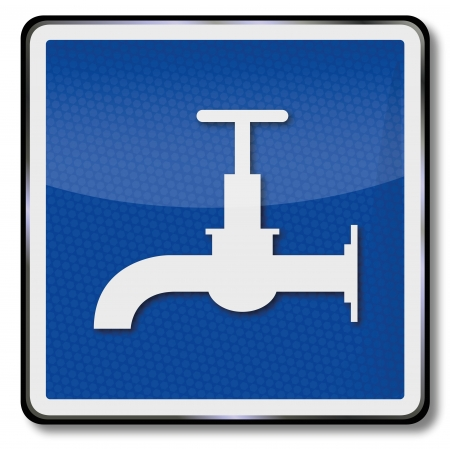 ship sign: Ship sign water faucet and drinking water Illustration