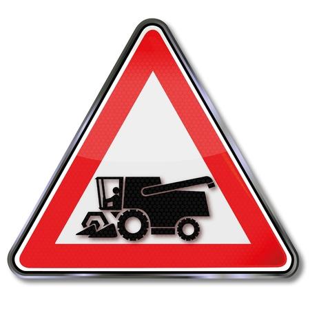 slowness: Road sign harvester Illustration