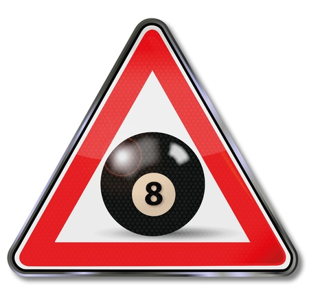 8 ball billiards: Sign billiard ball number 8