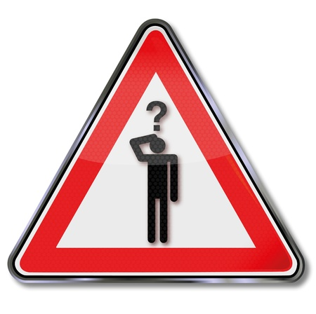 disorientation: Sign man with a question