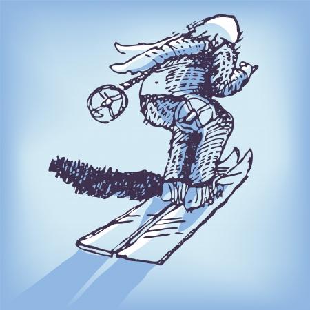 mixed media: Drawing skier