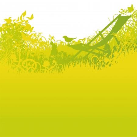 dissemination: Beach chair with rabbit and bird in the garden