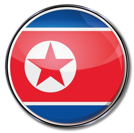 north korea: Button North Korea Illustration