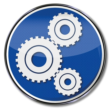 Sign gears in a machine Vector