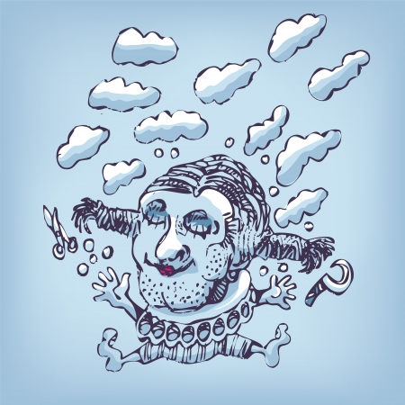 mixed media: Drawing a jump in the clouds