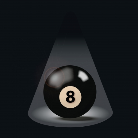 schein: Black billiard ball number eight Illustration