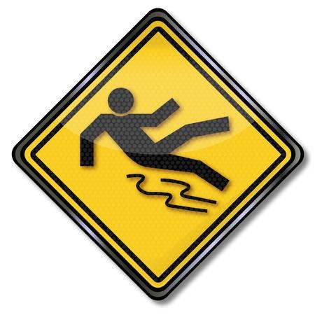 Warning sign risk of skidding on snow