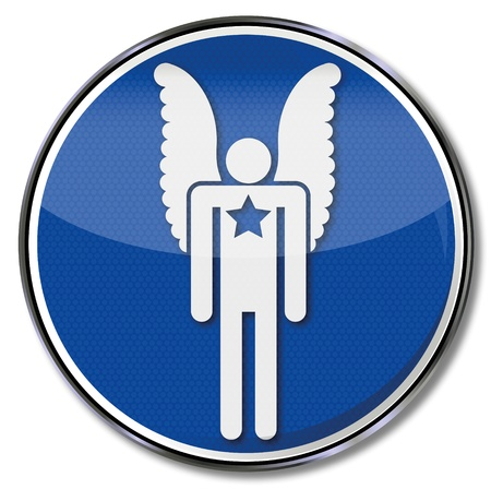 Sign angel with star shield on chest Vector