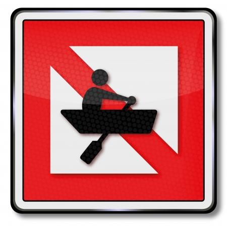 forbade: Ship sign  ban for  rowboats Illustration