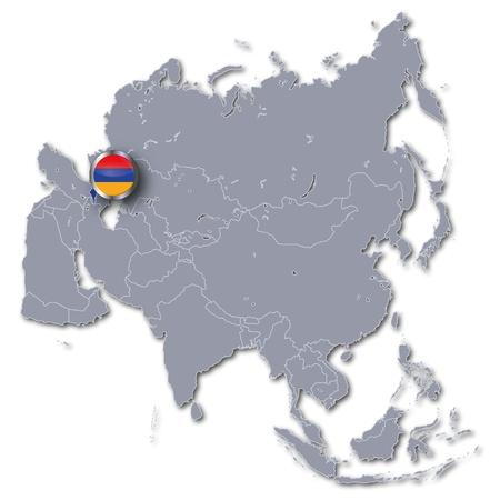 landlocked: Asia map with Armenia