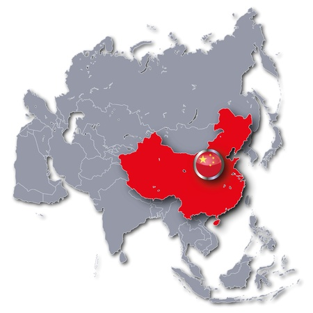china map: Asia map with China Stock Photo