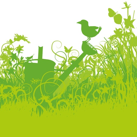 Bird on a watering can in the overgrown garden Vector