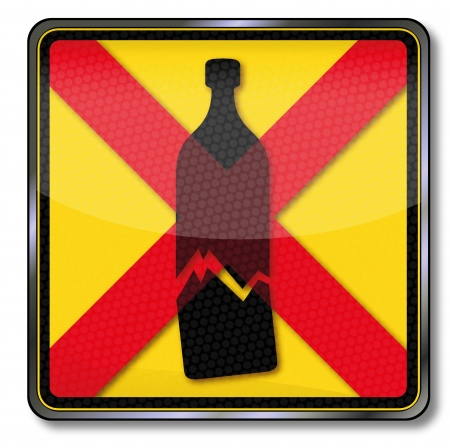Sign ban of glass bottles Stock Vector - 19557980