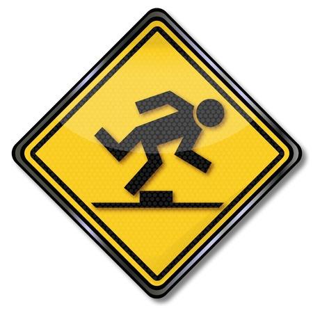 Sign caution trip hazard