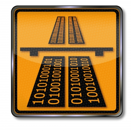 both: Sign information highway in both directions Illustration