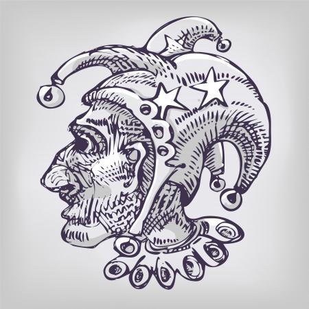 edad media: Dibujo con arlequín, de cabeza y poco campanas