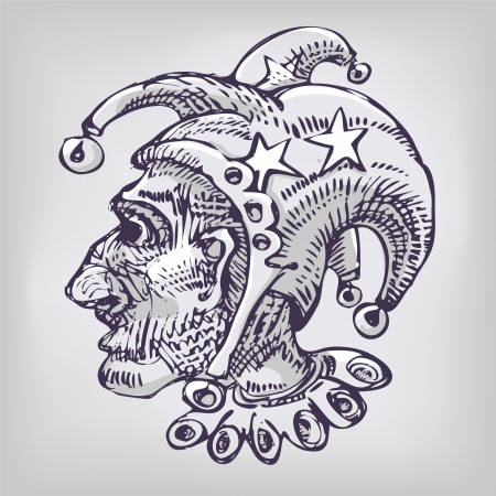 coolie hat: Drawing with harlequin, head and little bells Illustration