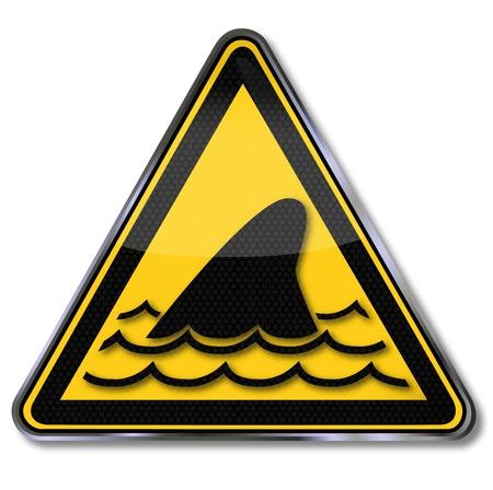 fluke: Warning sign sharks and dorsal fin Illustration