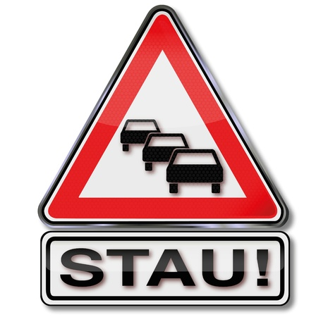 end of the days: Traffic sign warning  traffic jam Illustration