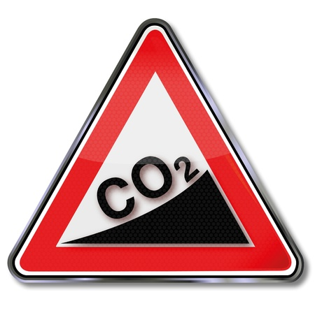 danger carbon dioxide  co2  labels: Sign CO2 increase