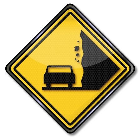 spillage: Se�al de tr�fico avalancha aviso y ca�da de rocas