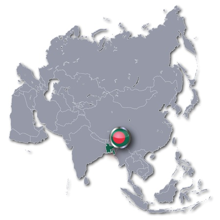 Asia map with Bangladesh photo