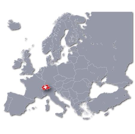Map of Europe with Switzerland photo