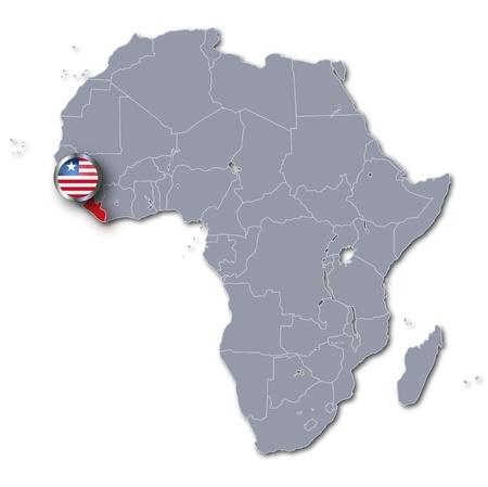 liberia: Africa map with Liberia Stock Photo