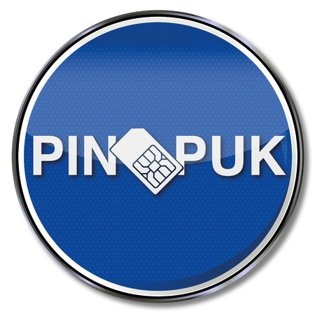 simcard: Sign simcard with a pin and puk Illustration