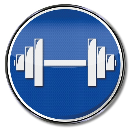 Sign dumbbell and weightlifting