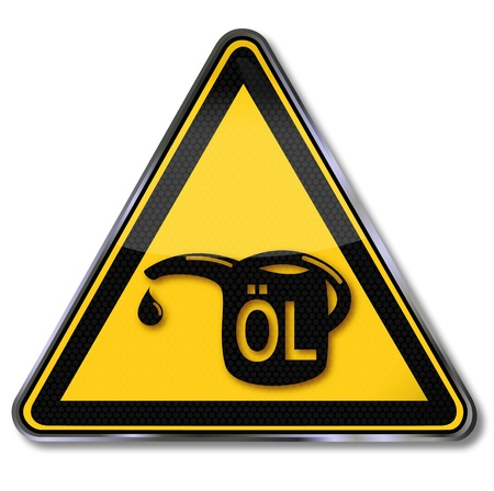 Sign oil and oil can Vector